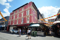 Bustling street of Chinatown district in Singapore Royalty Free Stock Photography