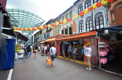 Bustling street of Chinatown district in Singapore Royalty Free Stock Image