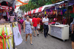 Bustling street of Chinatown district in Singapore Stock Image