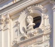 Busto di Goethe sulla facciata della costruzione di teatro dell'opera di Zurigo Fotografia Stock Libera da Diritti