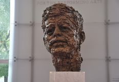Busto di John F. Kennedy da Robert Berks in Kennedy Center Memorial da Washington District di Colombia U.S.A. Fotografia Stock Libera da Diritti