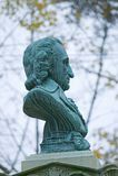 Busto di Thomas Paine in cima al suo monumento a New Rochelle, New York Fotografia Stock