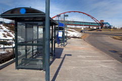 Bustop waiting booths. Bus stop sitting booths for inclimate weather conditions in Colorado Royalty Free Stock Photos