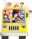 Bustreiber und Mitfahrer auf Bus Stockfotos