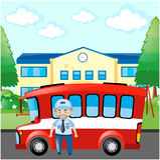 Bustreiber und roter Bus Lizenzfreie Stockfotos