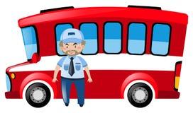 Bustreiber und roter Bus Stockbilder