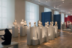 Busts of Greek Philosphers and Emperors in Altes Museum Berlin. BERLIN, GERMANY - FEBRUARY 2, 2016: The Altes Museum is a museum building on Museum Island in royalty free stock photography
