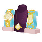 Busts and Jewelry and a gold watch isolated on a black background. royalty free illustration