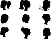 Busts in silhouette Royalty Free Stock Images