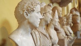 Busts in the Vatican Museums.  stock video
