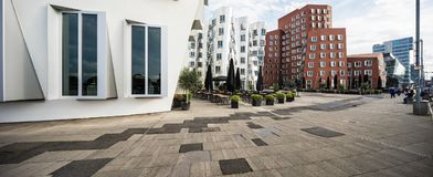 Busty architectures in Dusseldorf. Modern curved buildings in Dusseldorf Stock Images