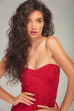 Busty model with long hair posing Royalty Free Stock Image