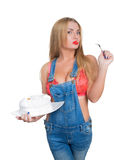 Busty sexy girl eating cake with whipped cream Royalty Free Stock Images