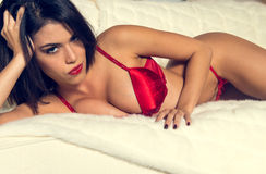 Busty woman in sexy red lingerie Stock Photography