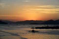 Busuanga海岛港口黎明 免版税库存图片
