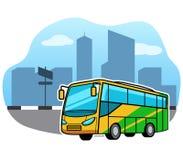 Busvervoer in Front Of City Facade stock illustratie
