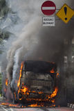 Busway Jakarta Burning Stock Photo