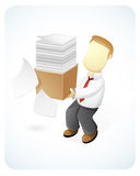 So Busy. Vector Illustration of a businessman holding a huge of paper Stock Photo
