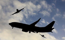Busy air traffic. A scenic shot of a busy airspace at airport Royalty Free Stock Photography