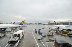 Busy airport operations. Airport operations at Frankfurt International stock photo
