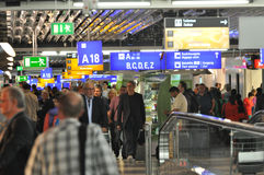 Busy airport. Rush hour at Frankfurt International Airport stock image