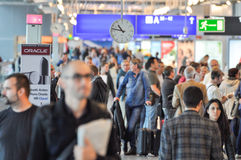 Busy airport. Rush hour at Frankfurt International Airport royalty free stock images