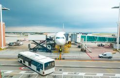 Busy airport scene. Royalty Free Stock Image