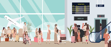 Busy airport scene illustration with plane and people waiting. In check-in counter man woman bring baggage for flight sitting and standing vector Royalty Free Stock Images