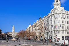 The busy Aliados Avenue with the City Hall of Porto located at the top and the BBVA bank on the right Royalty Free Stock Photography