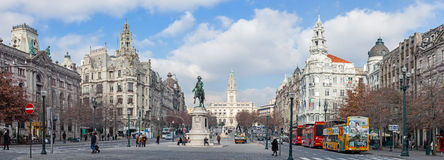 The busy Aliados Avenue with the City Hall of Porto Royalty Free Stock Photos