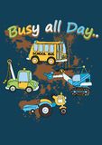 Busy all day. Vector illustration of transport and work vehicles Royalty Free Stock Image