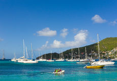 A busy anchorage in the caribbean Royalty Free Stock Images