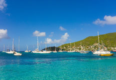 A busy anchorage in the caribbean Stock Photos