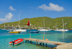 A busy anchorage in the caribbean Royalty Free Stock Photo