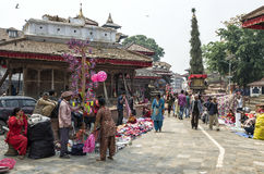 Busy Asan Tole Market with workers, local and tourists, Indra Chowk, Kathmandu Nepal Royalty Free Stock Photography