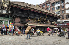Busy Asan Tole Market with workers, local and tourists, Indra Chowk, Kathmandu Nepal Stock Images