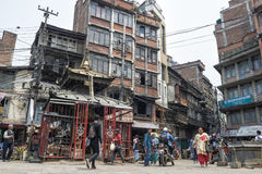 Busy Asan Tole Market with workers, local and tourists, Indra Chowk, Kathmandu Nepal Stock Photo