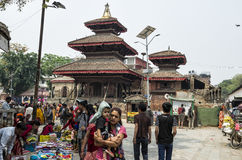 Busy Asan Tole Market with workers, local and tourists, Indra Chowk, Kathmandu Nepal Stock Image