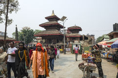 Busy Asan Tole Market with workers, local and tourists, Indra Chowk, Kathmandu Nepal Royalty Free Stock Photo