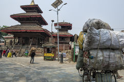 Busy Asan Tole Market with workers, local and tourists, Indra Chowk, Kathmandu Nepal Royalty Free Stock Photos