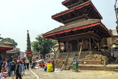 Busy Asan Tole Market with workers, local and tourists, Indra Chowk, Kathmandu Nepal. Stock Image