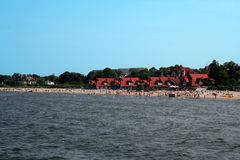 Busy Baltic beach. Beach at Sopot, Poland on the Baltic sea Stock Image