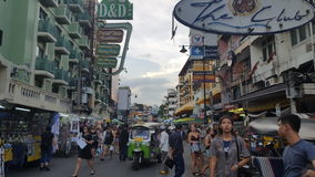 Busy Bangkok Street, hustle and bustle in the city. Royalty Free Stock Image