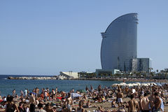 Busy Barcelona Beach Stock Photo