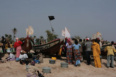 Busy beach when fishing boat returns - Gambia, Africa Stock Photography