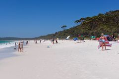 Busy beach at Hyams beach stock photo