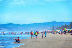 Busy Beach at Olon, Ecuador Stock Photography
