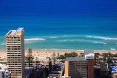 City life beach scenery aerial image Royalty Free Stock Photos