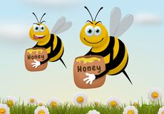 Busy Bees. Illustration of two bees carrying honey pots while flying over a field of flowers Stock Photography