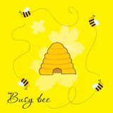 Busy bees around beehive. Cute cartoon illustration of busy bees around beehive royalty free illustration